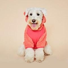 [예약상품] 플로트 플러피후리스 베어후드 강아지옷 핑크