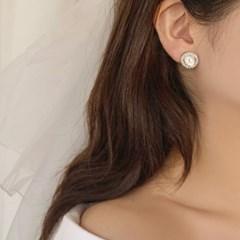 [웨딩][귀찌가능] 블링 자개 타원 혼주 큐빅 웨딩 스터드 귀걸이