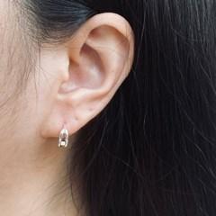 실버925 두줄 원터치 링 귀걸이