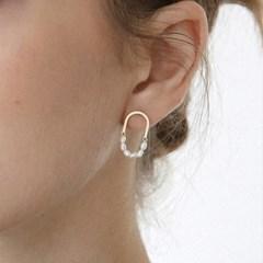 pearl layered oval earring E044