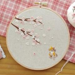 치즈달의 벚꽃과 고양이 프랑스자수