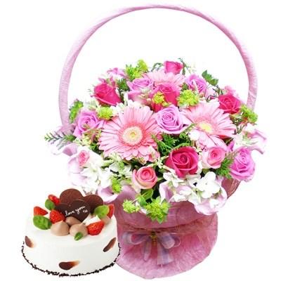 귀여운당신꽃바구니+케익 [전국당일배송꽃배달]