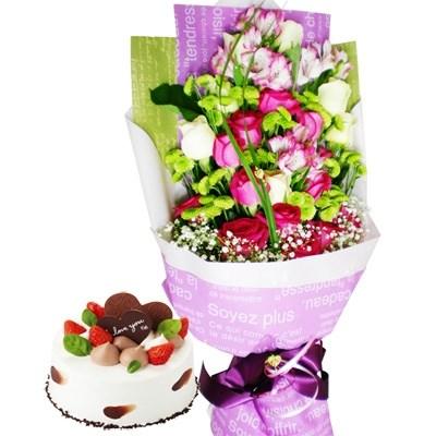 로렌꽃다발+케익 [전국당일배송꽃배달]