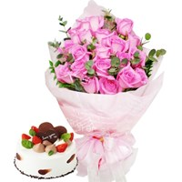 핑크사랑꽃다발+케익 [전국당일배송꽃배달]