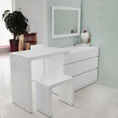리치웰 하이그로시 앨리 3단 서랍화장대세트 (서랍장+상판+의자+거울