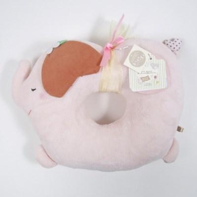 하티플프렌즈 메모리폼 코끼리 원형쿠션 (딸기향)