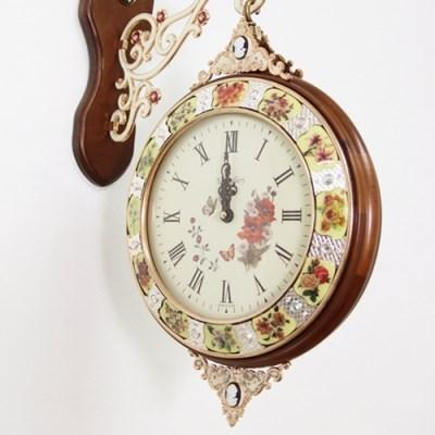 럭셔리 명품꽃 양면시계