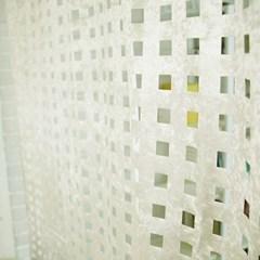 square velvet curtain - ivory