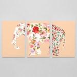 flowers on elephant#2/3-piece