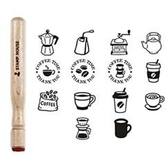 [커피앤티]스틱형 나무스탬프(원형14mm) 쿠폰스탬프(14종선택)