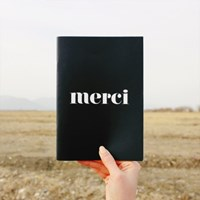 Double sided B&W Line Note - merci