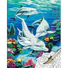 (내가그리는명화)B22-돌고래 가족(물감혼합형)