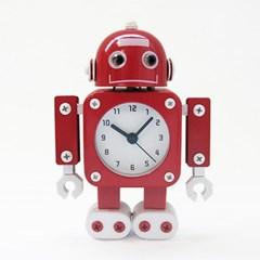 무소음 메탈로봇 알람 탁상시계-RED
