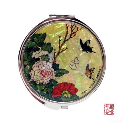 [남계우] 화접도 - 모란꽃과 나비 자개 손거울