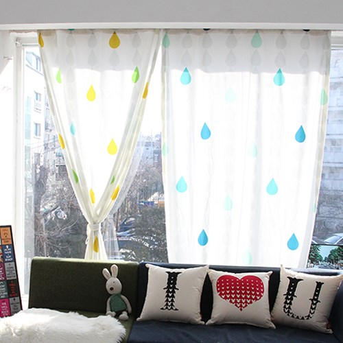 자체제작 물방울 디자인 극세사 커튼 (2Color)