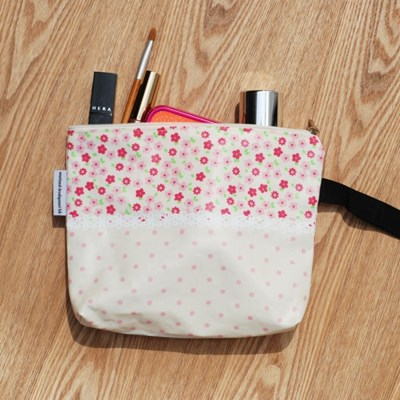 pink flower string pouch
