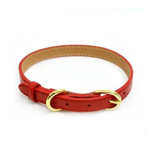 [18K도금]천연소가죽 목줄(빨간색)