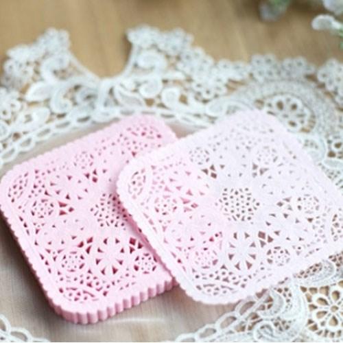 도일리페이퍼 사각 10cm 핑크