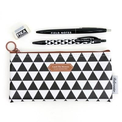 Pattern Pencil Case-Black Triangle