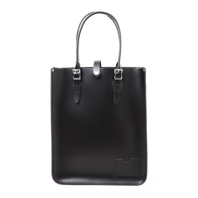Charcoal Black Leather Tote Bag