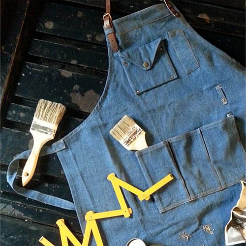 레더 믹스 데님 에이프런 : leather mix denim apron[2colors]