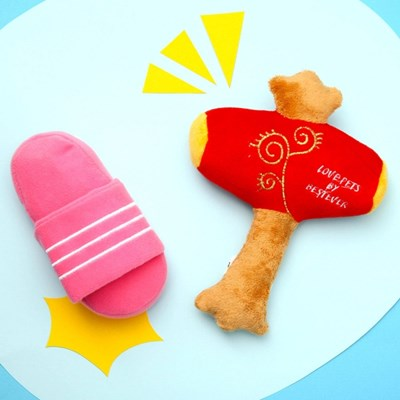 [PetToy]Squeaky  Slipper(삼선슬리퍼 핑크)찍찍삑삑