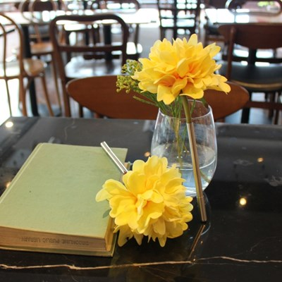 yellow graceful peony flower pen