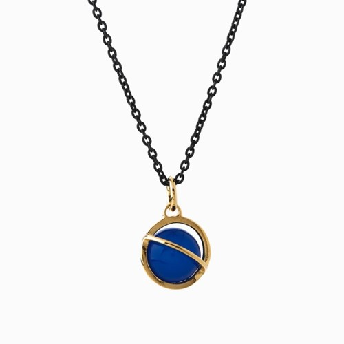 Medium Orbit Necklace - Blue agate/Oxi chain