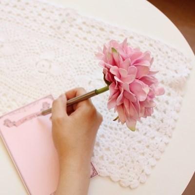 baby pink graceful peony flower pen