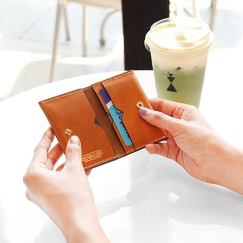 명함 카드지갑 천연가죽 듀얼 포켓 카드케이스