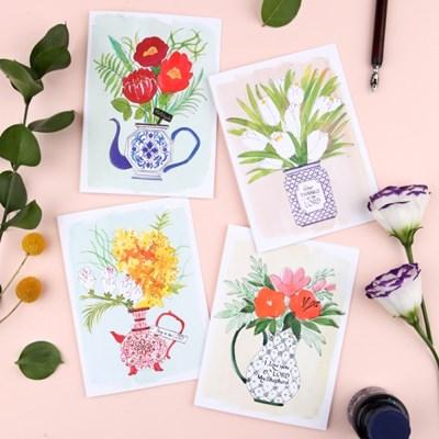 그레이스벨 카드 도자기꽃 4종류