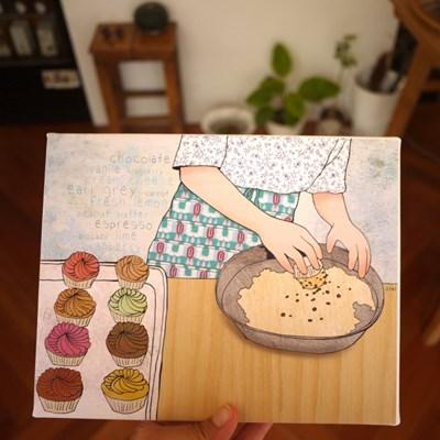 캔버스 액자-행복의 컵케익