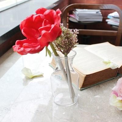 bright red anemone flower pen