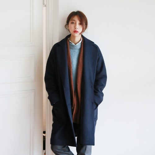 Daily cross wool coat