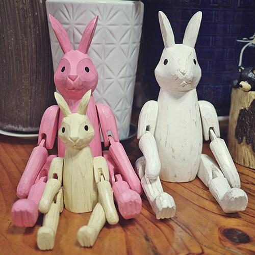 목각 관절토끼인형 가족들
