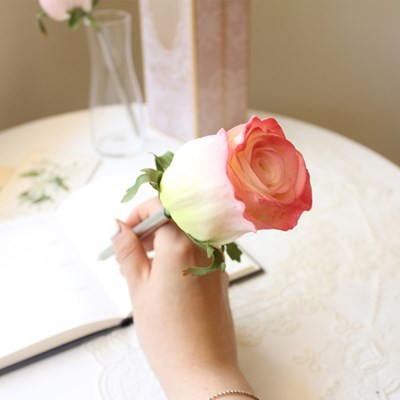 baby pink tiny rose flower pen
