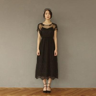 [CLAIR DE LUNE]  BLANCNOIR DRESS BLACK