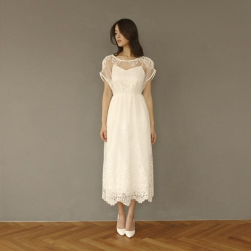 [CLAIR DE LUNE]  BLANCNOIR DRESS WHITE