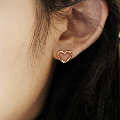 heart shape stud earring_silver/gold