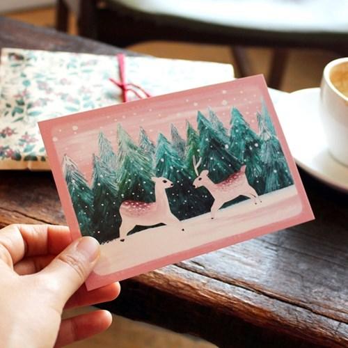 크리스마스엽서(눈꽃토끼,눈꽃사슴,두근두근)