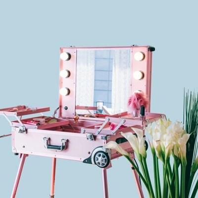 [라쏨] LED 조명 수납화장대 마이퍼펙트데이 핑크