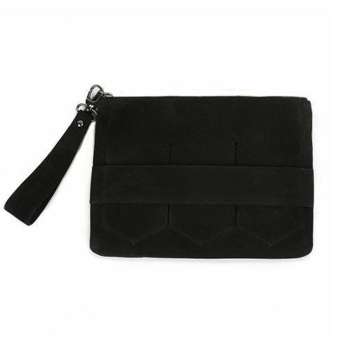 Modern fringe clutch bag _Black