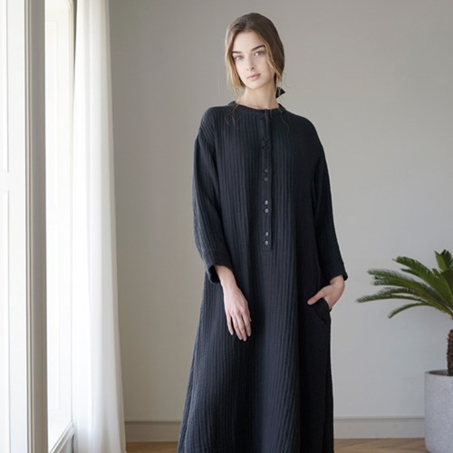 Cotton Long Dress - Black