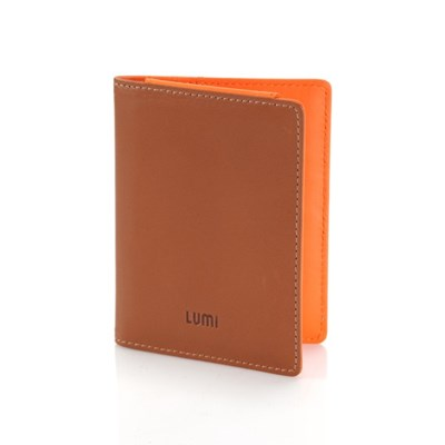 Paula Simple Card Wallet Beige/Orange