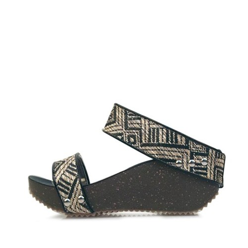 kami et muse Wide ethnic strap wedge slippers_KM17s165