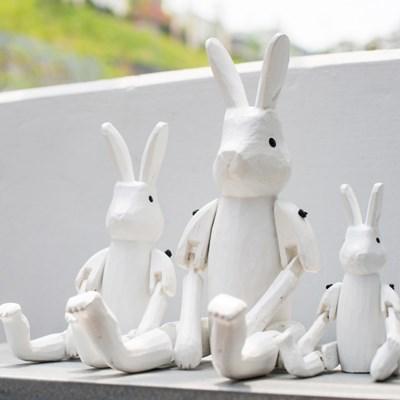 [T-LAB] 원더랜드 목각 토끼 인형-화이트