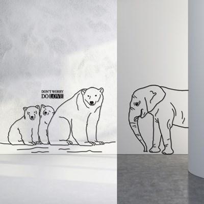 북유럽풍 동물 월데코_ 코끼리&곰 그래픽스티커 (소,중형)