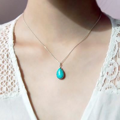 [하우즈쉬나우] 몰디브 오션, 터키석 Silver Necklace (12월 탄생석)