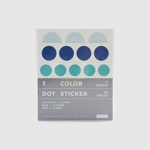 3 Color Dot Sticker (Light blue, Blue, Mint)