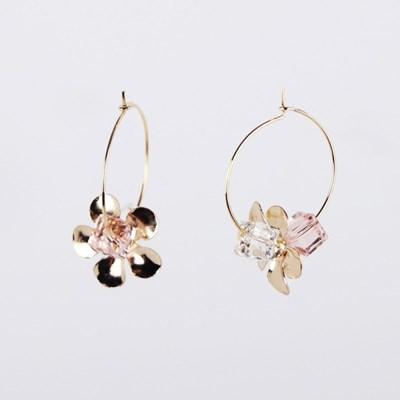 flower crystal hook earring